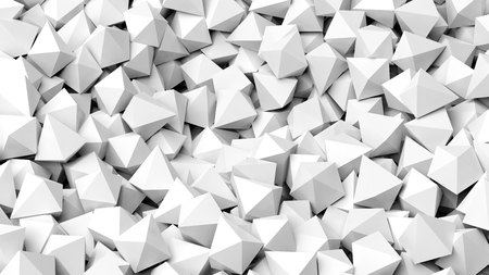 backkground: 3D white polyhedrons pile abstract background