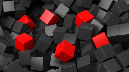 backkground: 3D black and red cubes pile abstract background Stock Photo