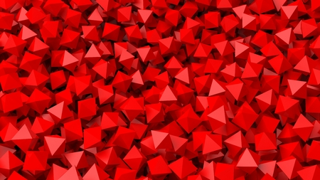 art contemporary: 3D red polyhedrons pile abstract background Stock Photo