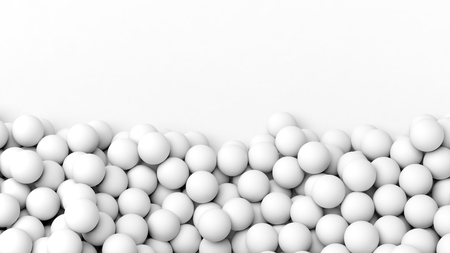 backkground: 3D white  spheres pile, isolated on white with copy-space