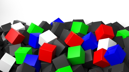 backkground: 3D colorful cubes pile, isolated on white with copy-space