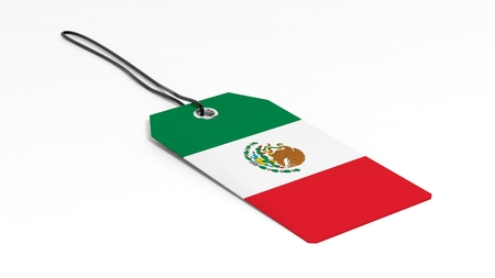 mexico: Made in Mexico price tag with national flag, isolated on white background.