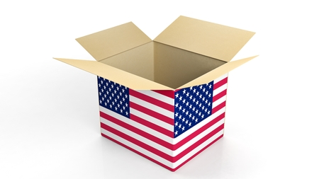 usa: Carton box with USA national flag, isolated on white background