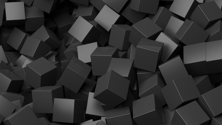 backkground: 3D black cubes pile abstract background