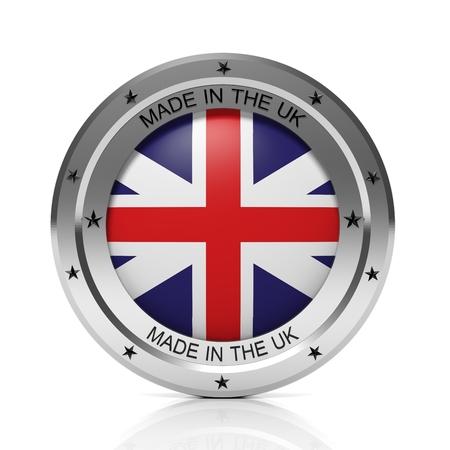 uk: Made in UK round badge with national flag, isolated on white background. Stock Photo