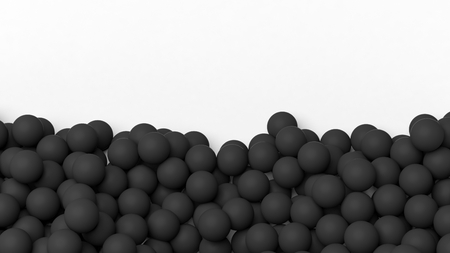 backkground: 3D black spheres pile, isolated on white with copy-space Stock Photo