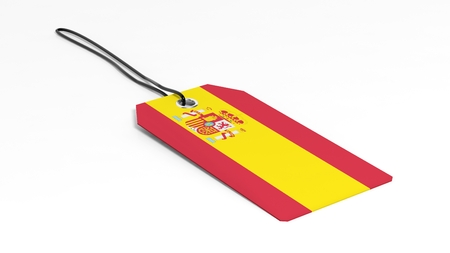 made in spain: Made in Spain price tag with national flag, isolated on white background.