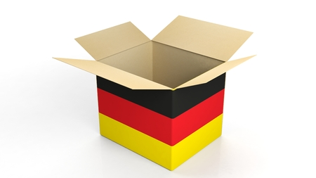 germany: Carton box with Germany national flag, isolated on white background.