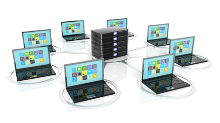 computer services: Server rack icon with laptops around it, isolated on white background