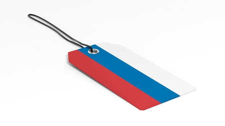 made in russia: Made in Russia price tag with national flag, isolated on white background.