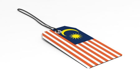 malaysia: Made in Malaysia price tag with national flag, isolated on white background. Stock Photo