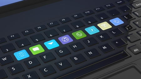 keyboards: Black keyboard closeup with apps icons shortcuts