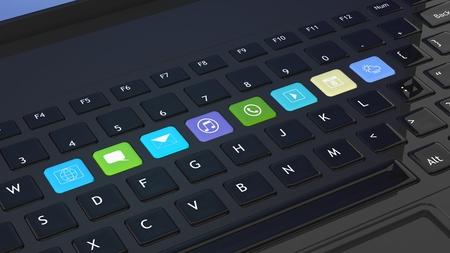klawiatury: zbliżenie Czarna klawiatura z ikon aplikacji skróty Zdjęcie Seryjne