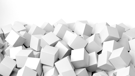 backkground: 3D white cubes pile, isolated on white with copy-space Stock Photo