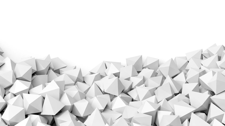 backkground: 3D white polyhedrons pile, isolated on white with copy-space