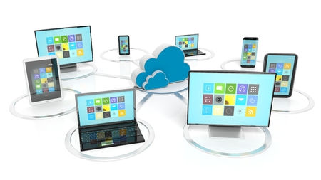 Cloud icon with communication devices around it, isolated on white background Stock Photo