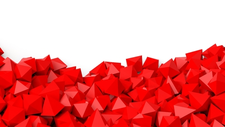 backkground: 3D red polyhedrons pile, isolated on white with copy-space