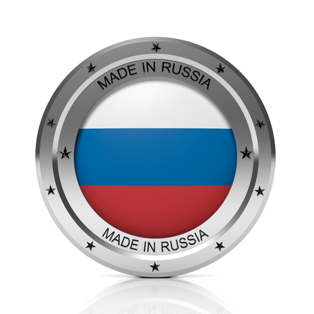 made russia: Made in Russia round badge with national flag, isolated on white background.