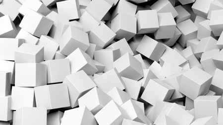 backkground: 3D white cubes pile abstract background Stock Photo