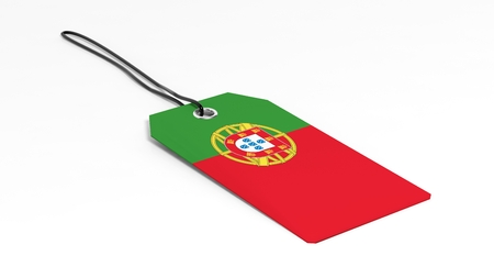 made in portugal: Made in Portugal price tag with national flag, isolated on white background. Stock Photo