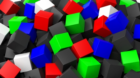 backkground: 3D colorful cubes pile abstract background Stock Photo