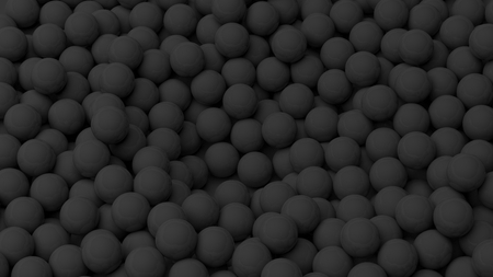 backkground: 3D black  spheres pile, isolated on white with copy-space