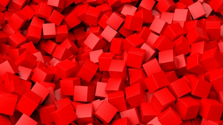 backkground: 3D red cubes pile abstract background
