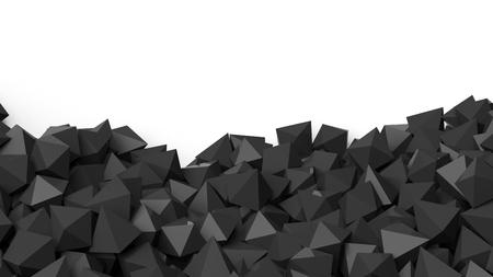 backkground: 3D black polyhedrons pile, isolated on white with copy-space