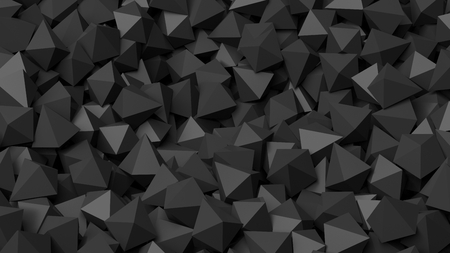 backkground: 3D black polyhedrons pile abstract background