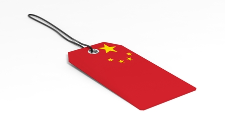 Made in China price tag with national flag, isolated on white background.
