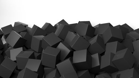backkground: 3D black cubes pile, isolated on white with copy-space
