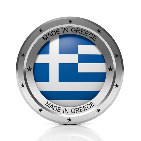 made in greece: Made in Greece round badge with national flag, isolated on white background. Stock Photo