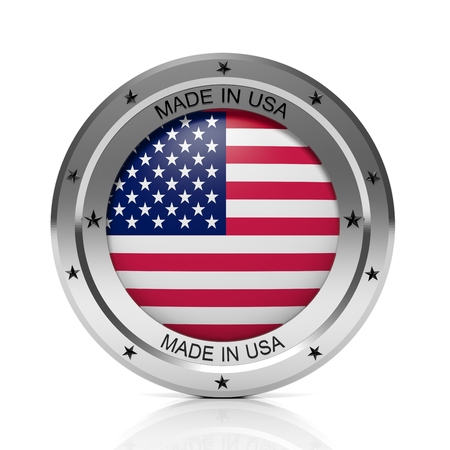 made in the usa: Made in USA round badge with national flag, isolated on white background.