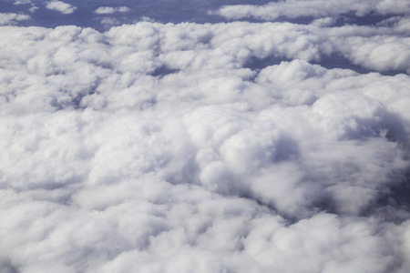 troposphere: Aerial photography with white fluffy clouds