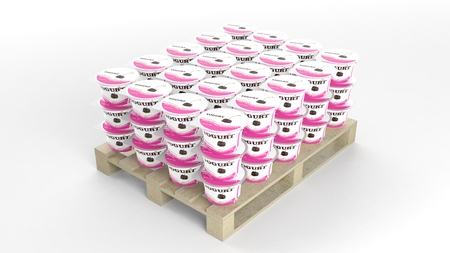 Plastic yogurt cups set on wooden pallet, isolated on white background. Banque d'images
