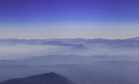 troposphere: Aerial photography blue skyline with mountain landscape
