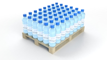 food products: Water bottles set on wooden pallet, isolated on white background.