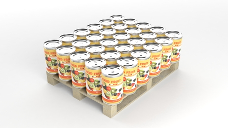can food: Mixed fruits cans set on wooden pallet, isolated on white background. Stock Photo