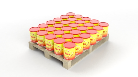 food products: Powder Milk cans set on wooden pallet, isolated on white background.