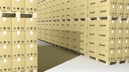 cajas de carton: cajas de cartón en las paletas de madera en filas