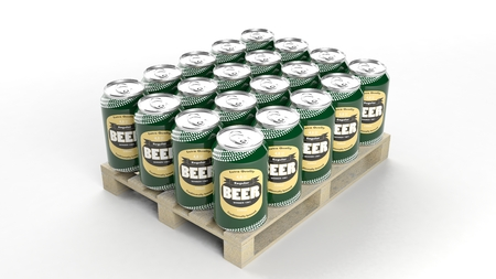 can: Beer can mockups set on wooden pallet, isolated on white background. Stock Photo