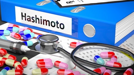 Illustration of doctors desktop with different pills, capsules, statoscope, syringe, blue folder with label Hashimoto Stock Photo