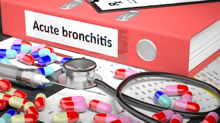 bronchitis: Illustration of doctors desktop with different pills, capsules, statoscope, syringe, pale red folder with label Acute bronchitis