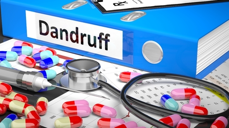 case history: Illustration of doctors desktop with different pills, capsules, statoscope, syringe, blue folder with label Dandruff