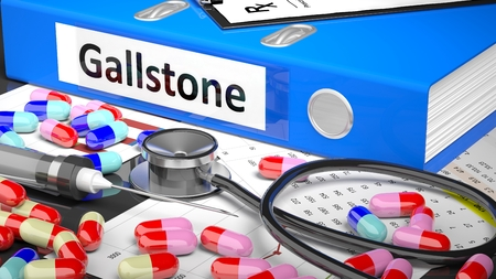 gallstone: Illustration of doctors desktop with different pills, capsules, statoscope, syringe, blue folder with label Gallstone