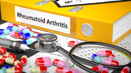 altimeter: Illustration of doctors desktop with different pills, capsules, statoscope, syringe, yellow folder with label Rheumatoid Arthritis