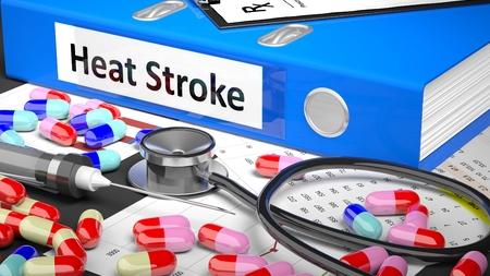 case history: Illustration of doctors desktop with different pills, capsules, statoscope, syringe, blue folder with label Heat Stroke Stock Photo