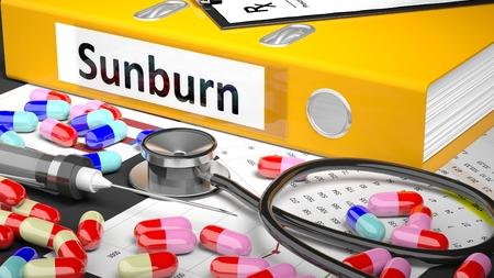 sunburn: Illustration of doctors desktop with different pills, capsules, statoscope, syringe, yellow folder with label Sunburn