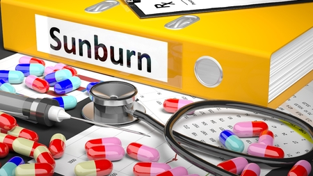 Illustration of doctors desktop with different pills, capsules, statoscope, syringe, yellow folder with label Sunburn