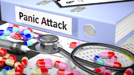 panic attack: Illustration of doctors desktop with different pills, capsules, statoscope, syringe,light blue folder with label Panic Attack